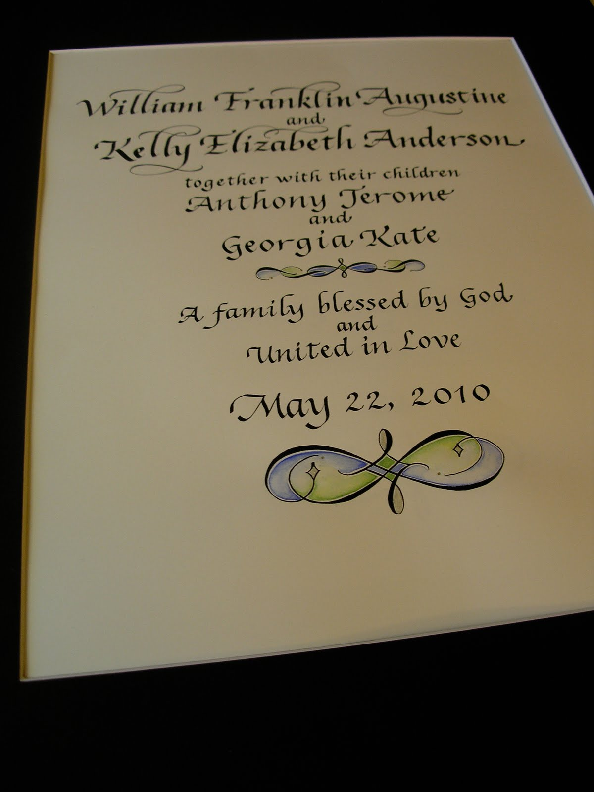 Wedding calligraphy by jane farr certificate