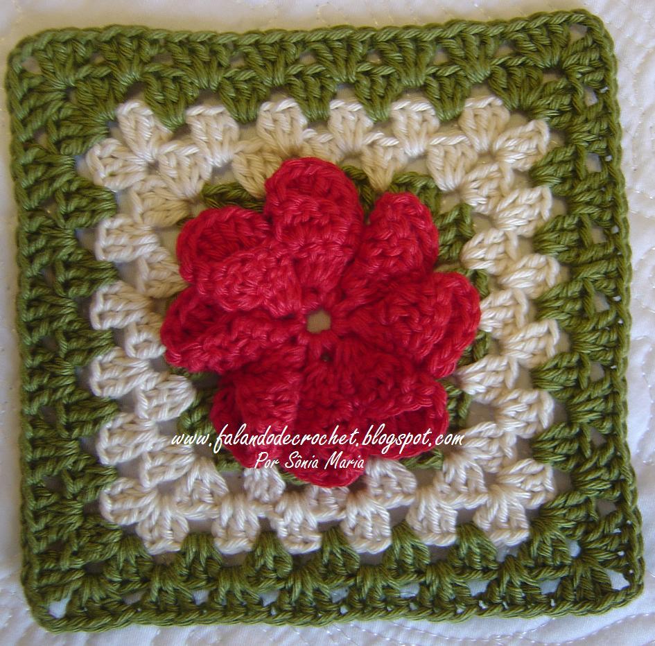 quadradinho de croche flor cone crochet square