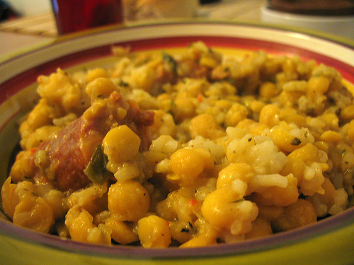 Arroz con garbanzos y espinacas - Potaje garbanzos con arroz ...