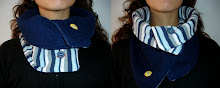 Cuello azul- blanco a rayas y azul oscuro doblefaz