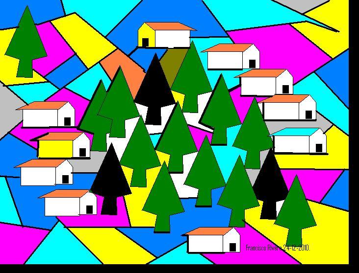 Paisajes con figuras geometricas