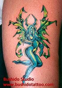 Flying Demon Crazy Body Tattoo