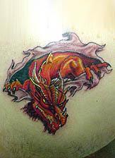 Red Head Dragon Tattoo Design