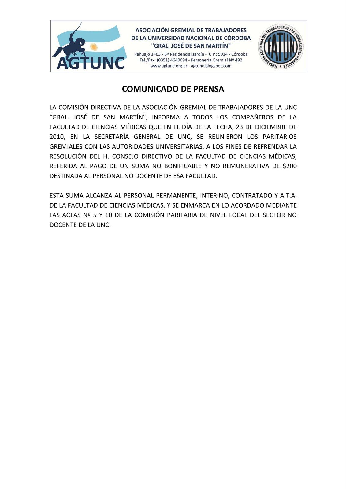 Gremial San Martín - AGTUNC - Nodocentes UNC y DASPU - No docentes ...