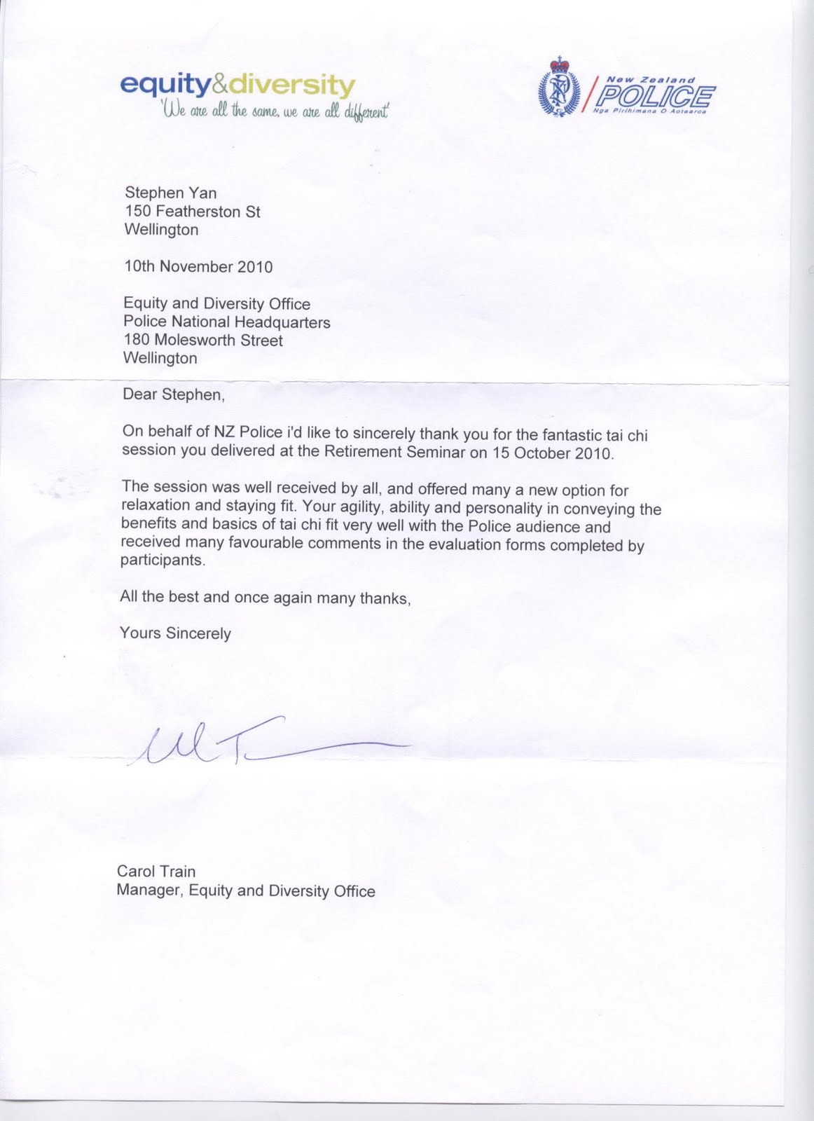 Dr Stephen Yan Martial Arts Blog Thank you letter from NZ Police