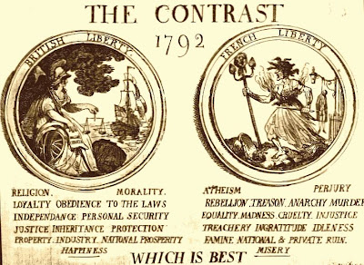 Political poster from 1792 comparing the English and French-Republican styles of government from a Loyalist English perspective
