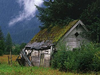 Shack in mountains