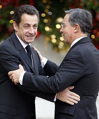 Presidentes Sarkozy y Uribe