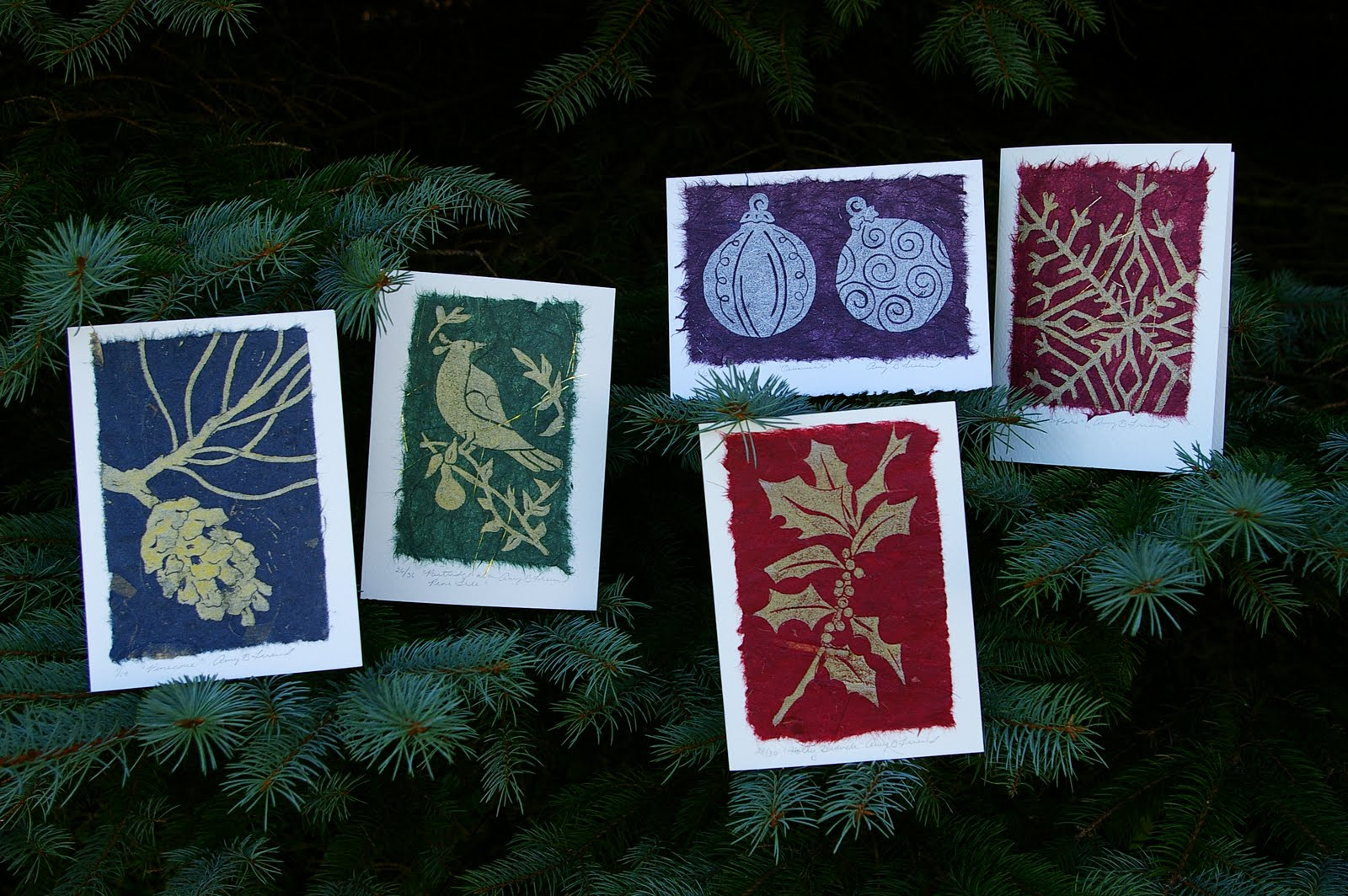 Holiday Collection Of Linocut Greeting Cards During