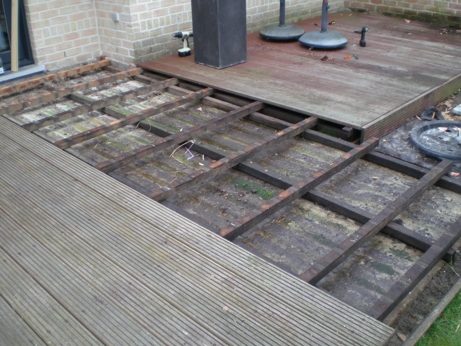 Bajs veranda stap 1 uitbreken van houten terras - Bedek een houten terras ...