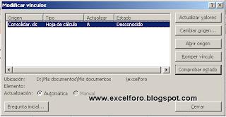 Modificar vínculos en Excel