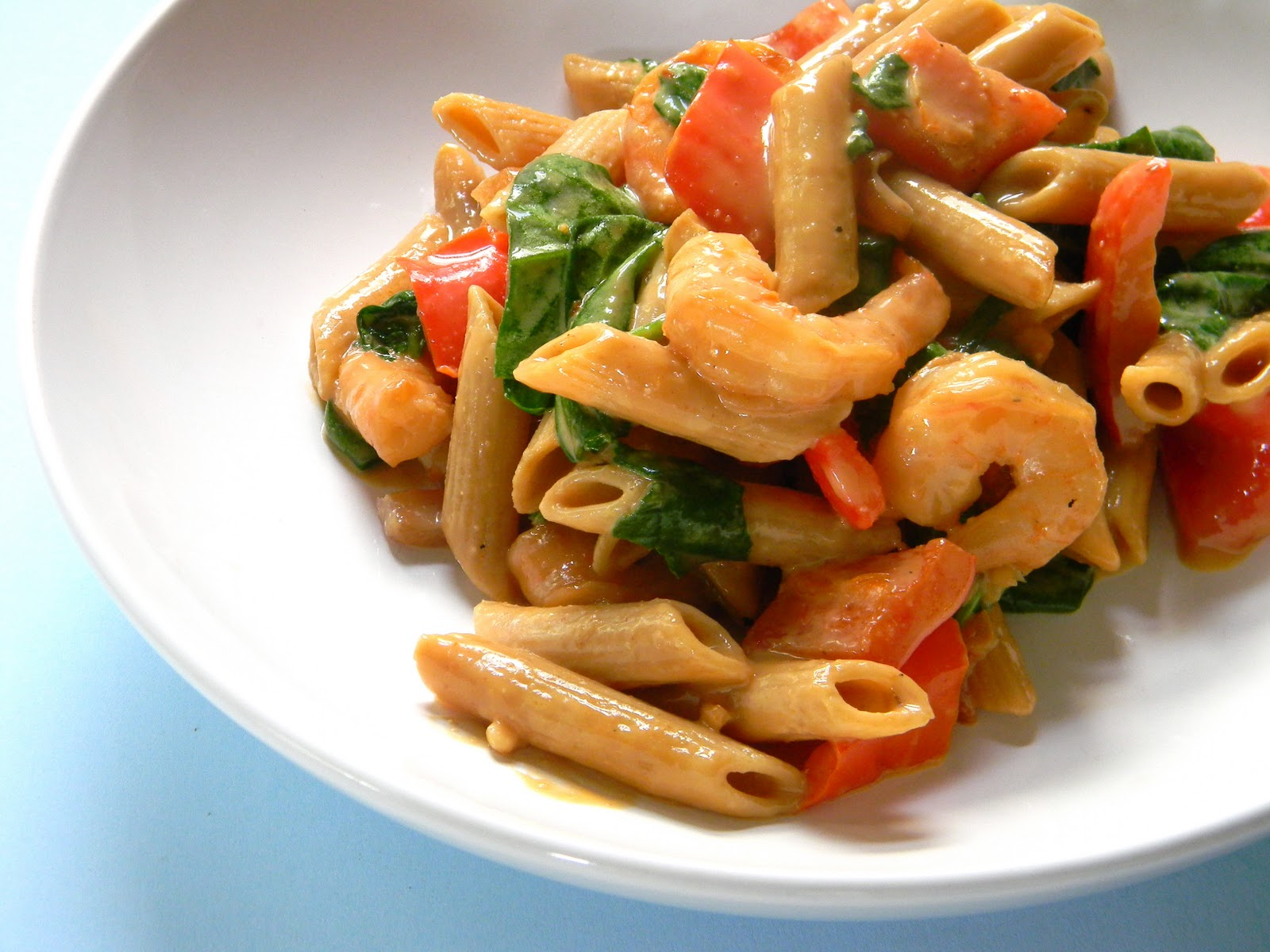 This shrimp pasta with peanut sauce is awesome. I love the flavor of ...