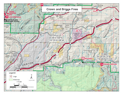 Initial Map of Briggs Fire. Click to learn more...
