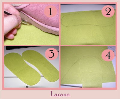 começamos por copiar um molde de um chinelo que tenhamos em casa.