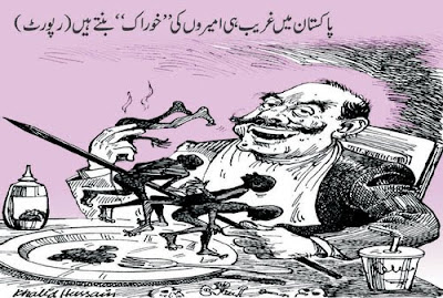 Urdu cartoons on rich and poor in Pakistan