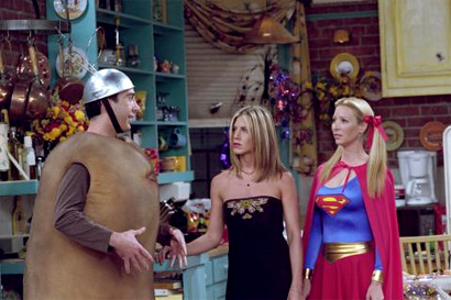 rosss unfortunate costume was the best part of this episode he arrives at monica and chandlers halloween party as spud nik dressing in a potato suit