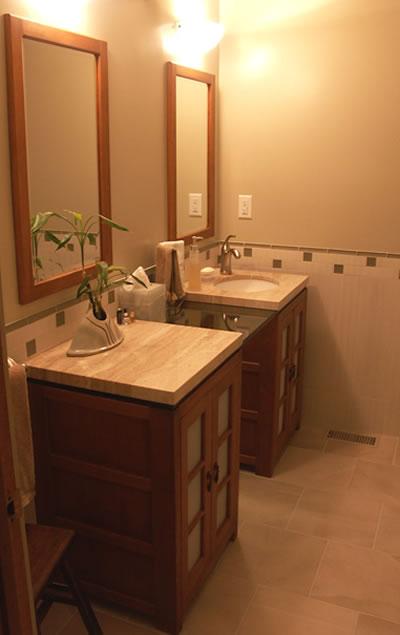 Bathroom With Two Separate Vanities Separate Vanity Bathroom Master Bed Bath Makeover Vanities