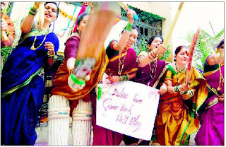 Housewives, dressed for the Gudi Padva festival, vent their ire against Team India in Thane near Mumbai
