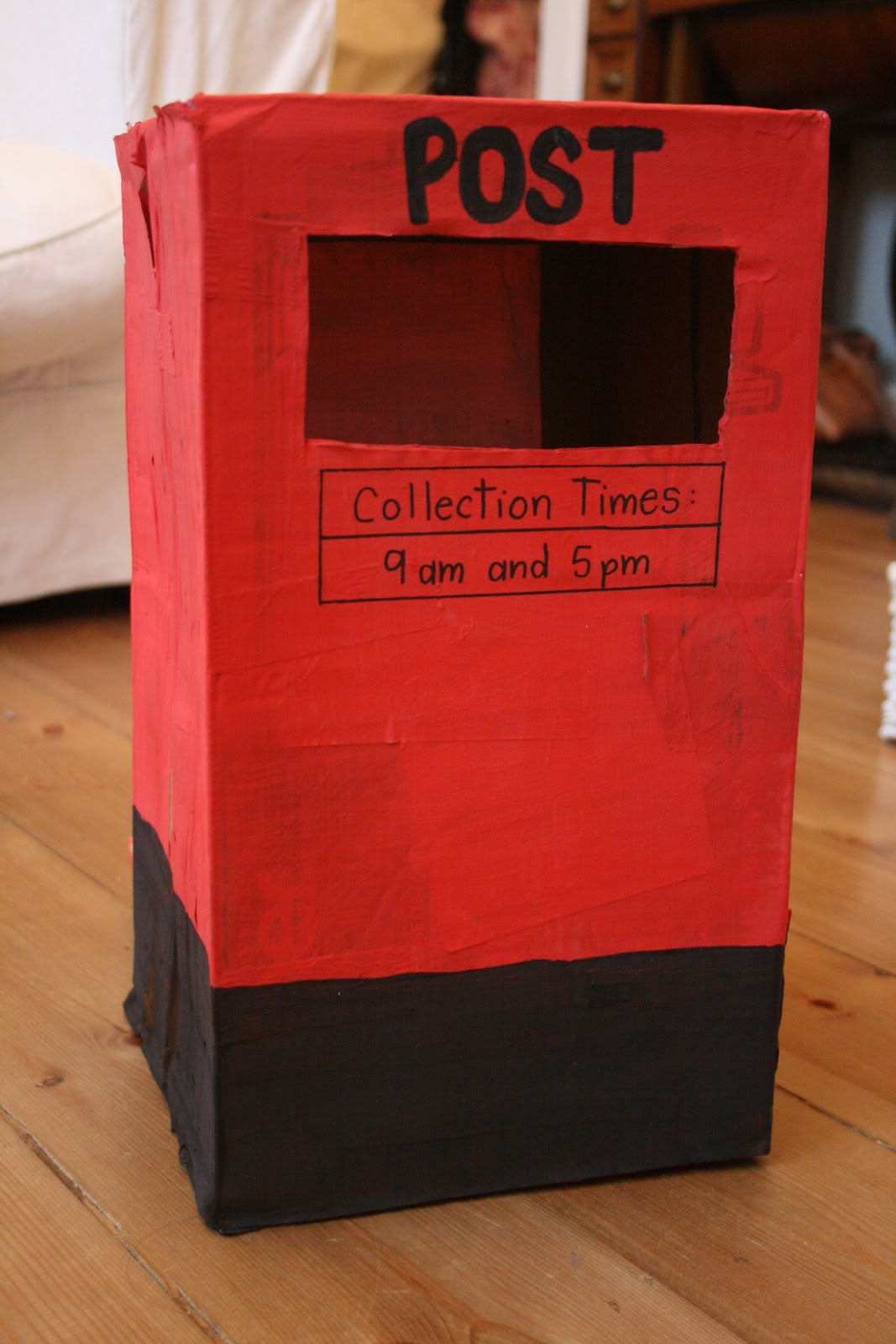 Post box pretend play the imagination tree for How to make a letterbox out of cardboard
