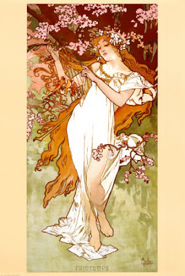Spring+by+EMucha+allposters ... Evelyne Embry Nude With Boa, Evelyn Embry