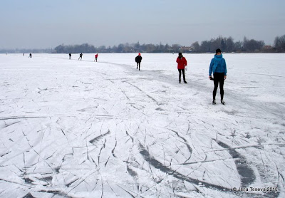 Skating frozen lake Reeuwijk Holland