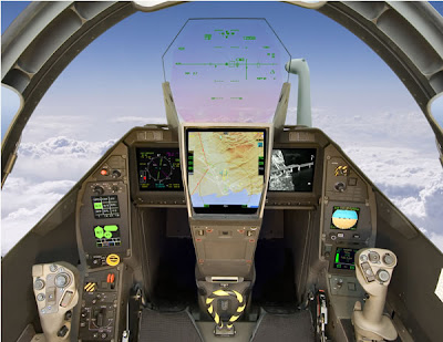 Cockpit do caça Rafale.