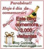 "Parabéns Sandra blog ""curiosa"" pelas 3000 visitas"