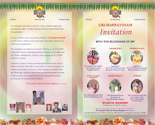 Gruhapravesam Inviting For Divine Shelters
