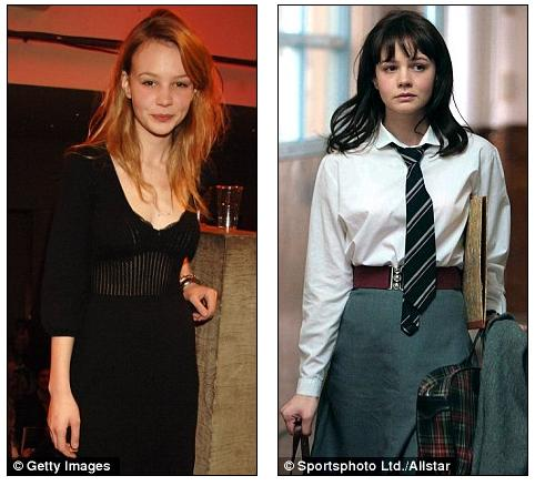 In 2007: Carey Mulligan's hair (left) is naturally long and mousy.
