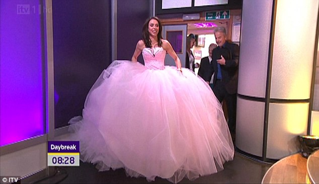 Blushing bride Christine Bleakley tried on a wedding dress from My Big Fat