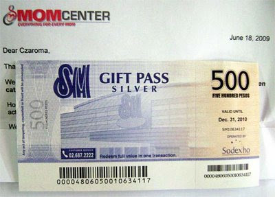 SM gift certificate from MomCenter