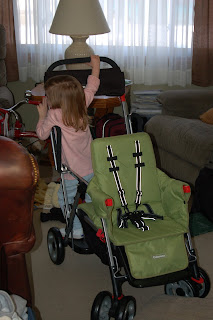 Almost sitting down on the jumpseat