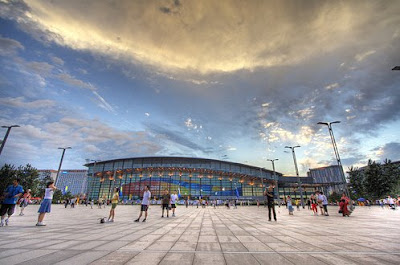 People enjoy the Olympic venues