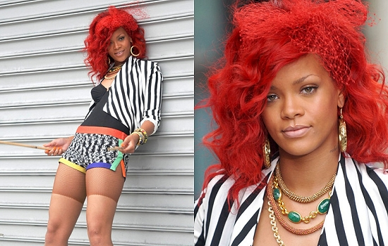rihanna long red hair fringe. Rihanna Red Hair Fringe.