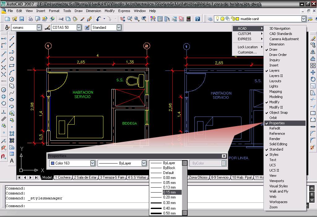 Autocad calibre grosor o calidad de las lineas for Planos en linea