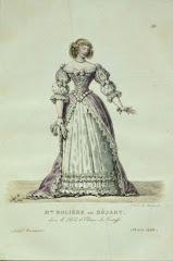 Madame Molière, nascida Béjart. Mme. Molière no papel de Elmira do Tartuffe. Gravura séc. XVII