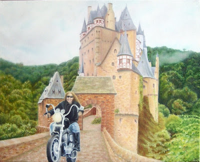 oil painting of woman on motorcycle leaving a castle