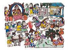Mithila art (Saraswati puja & Daily Life)