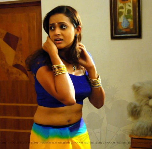 South India Mallu Actress Bhavana Showing Cleavage And Navel Saree
