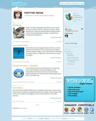 Twitter Freak Blogger Themes