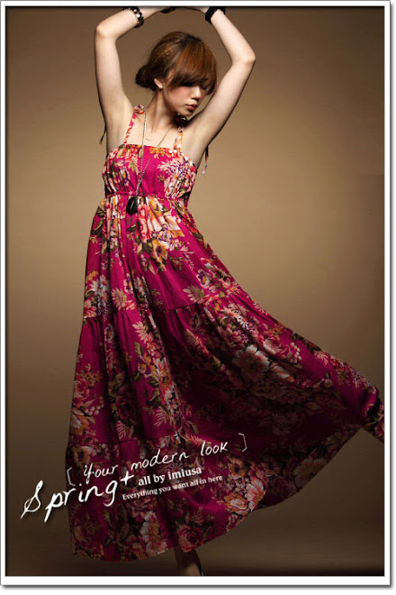 FLORAL COTTON MAXI TUBE DRESS - RM 46.00