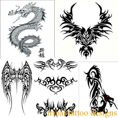 A large tribal angel wings tattoo sample for men and women. tribal tattoos