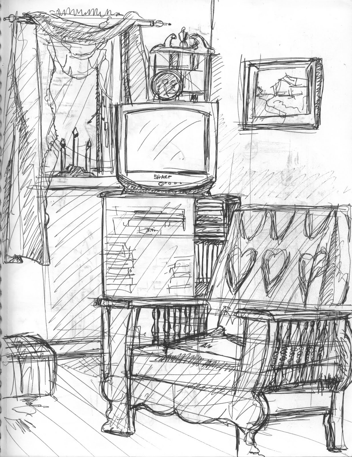 living room sketch katadoodles