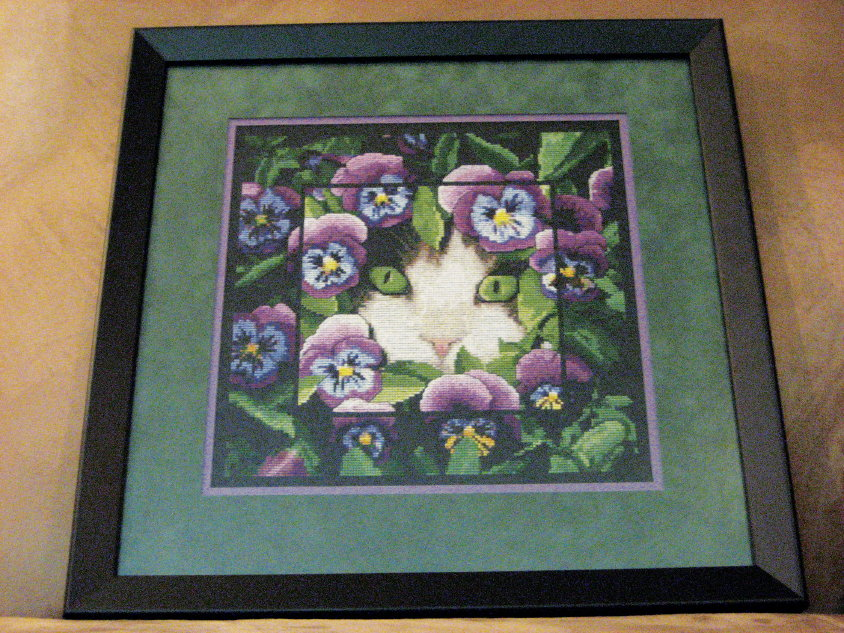 Cthulhu Crochet and Cousins: Spring Cat Cross Stitch Completed!