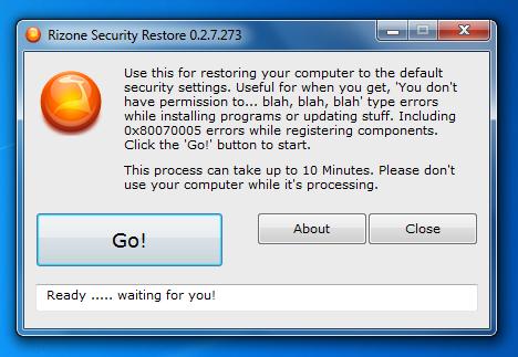 restaurar la configuración de seguridad predeterminada en Windows 7