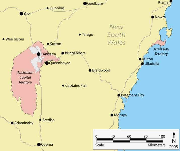 map showing surrounding towns modern canberras layout within the act