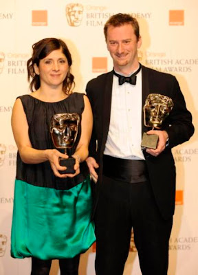 British directors Esther May Campbell and Stewart Le Marechal pose with the award for Best Short Film during the 2009 BAFTA