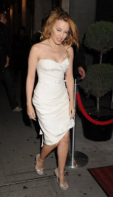 Kylie Minogue Cleavy looks Hot in White Dress