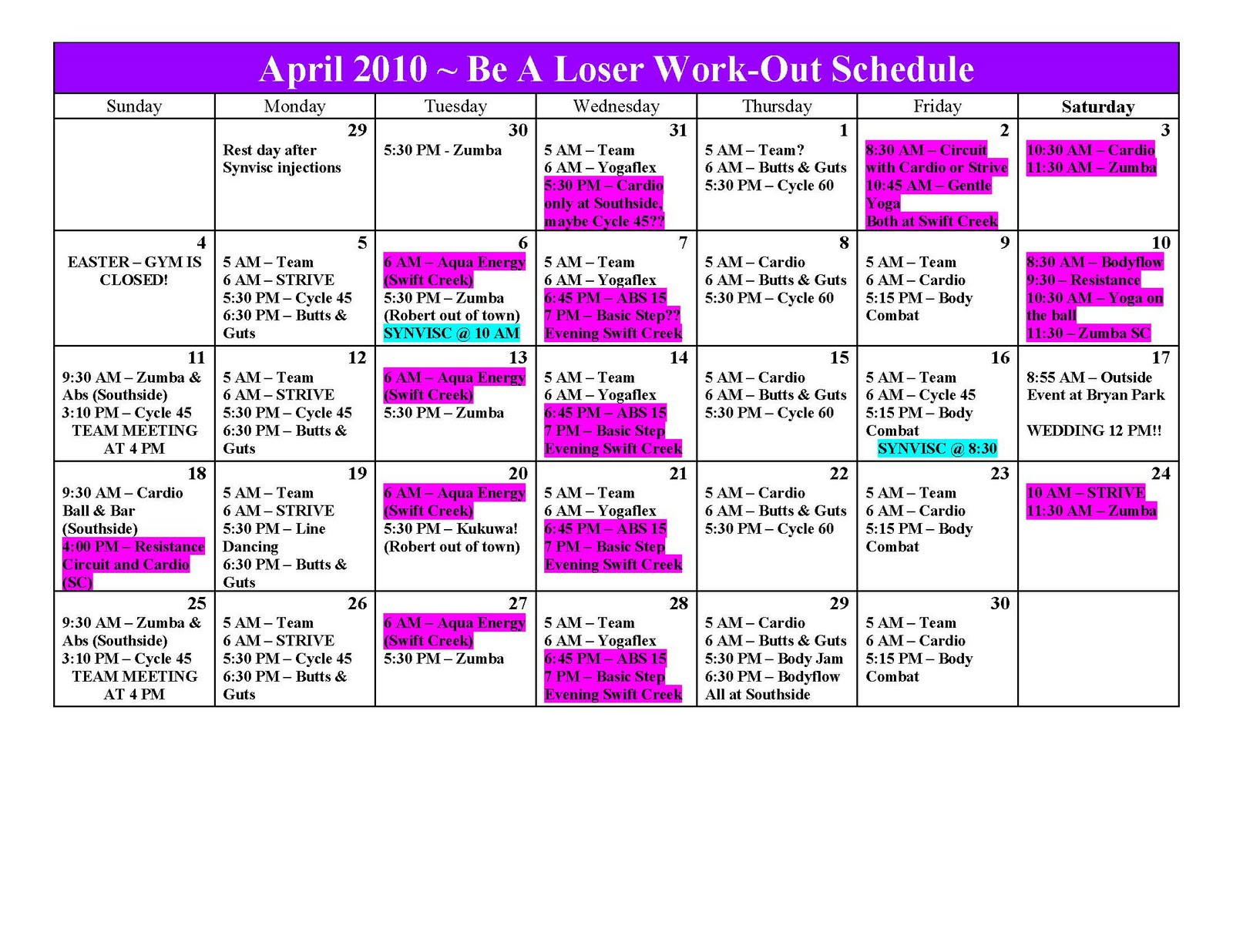 Being a Loser in Richmond, VA: April 2010 Work-Out Calendar!!