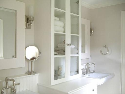 Here The Cabinets Flanking The Pedestal Sinks Sit Directly On The Counters.  Unlike A Kitchen, Counter Space In The Bath ...